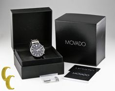 Movado Men's Stainless Steel Pilot Chronograph Watch w/ Box & Papers 42.1.14.122 #Movado #Casual