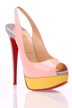 Christian Louboutin OFF!>> Louboutin Lady Peep Slingback Pumps in Baby Pink and Canari Fab Shoes, Dream Shoes, Me Too Shoes, Shoes Style, Pink Heels, Sexy Heels, Hot Heels, Peep Toes, Slingback Pump