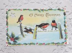 Six Christmas Gift Tags Vintage Birds on Fence by RetroCuties, $2.99