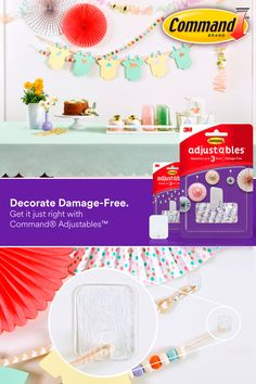 Pull off the perfect baby shower with Command Adjustables™ products. You can reposition up to three times in the first 20 minutes to get your wall décor just right. Diy Crafts For Girls, Diy Crafts To Sell, Home Crafts, Easy Crafts, Elegant Baby Shower, Baby Shower Fun, St Patrick's Day Decorations, Cute Disney Wallpaper, Diy Crafts Videos