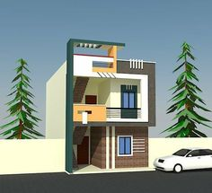 Bungalow House Design, House Front Design, House Design Photos, Small House Design, Modern House Design, Front Elevation Designs, House Elevation, 20x40 House Plans, Small Modern House Plans