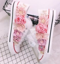 Beautiful Decorated Low Top Canvas Shoe Source by Wedding Sneakers, Wedding Shoes, Mode Shoes, Embellished Shoes, Bling Shoes, Decorated Shoes, Painted Shoes, Beautiful Shoes, Silk Flowers