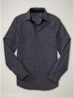 mens dark gray button down