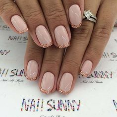 Rose Gold Glitter French Manicure #promnails