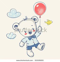 Cute little bear flying on a balloon cartoon hand drawn vector illustration. Can be used for baby t-shirt print, fashion print design, kids wear, baby shower celebration greeting and invitation card.