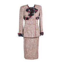 Authentic Vintage Chanel Boutique 3 Piece Vintage Skirt Blazer Suit Silk Blouse