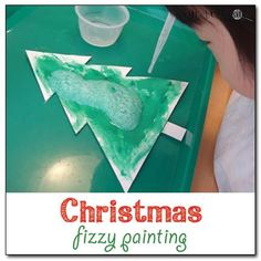 Christmas fizzy painting - mix paint and baking soda to create fizzy paint that will bubble and fizz when it comes into contact with vinegar