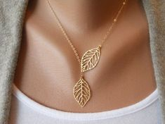leaf leaves necklace ,wedding necklace ,bridesmaid necklace,engagement necklace,women necklace ,girls necklace ,metal necklace,  XL-0706 on Etsy, $3.99