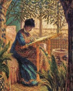 Claude Monet (French painter, 1840-1926) Madame Monet Embroidering 1875