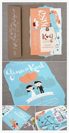 Inspiration for shower invitations. (These are wedding invitations, but they would be cute for a shower.)