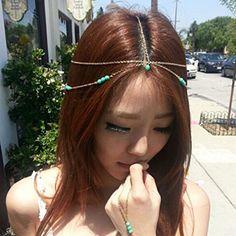 Yazilind Damen Hübsche Goldhaar Legierung Türkis Kette Kopfstück Kopfschmuck   Your #1 Source for Beauty Products