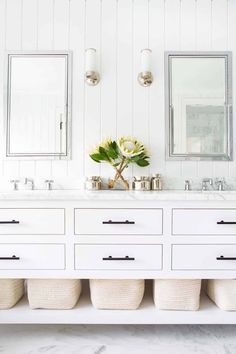 A Restoration Hardware Hutton Double Washstand sits on marble floor tiles and is. A Restoration Hardware Hutton Double Washstand sits on marble floor tiles and is. Marble Floor, Tile Floor, Layout Design, Plank Walls, Transitional Bathroom, Design Moderne, Bathroom Furniture, Bathroom Vanities, Marble Bathrooms