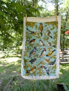 Vintage LOIS LONG Linen Kitchen Tea Towel Featuring Several Different BIRDS via Orphaned Treasures Etsy