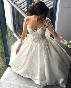 Fitted Prom Dress, affordable ball gown scoop long sleeves cathedral train satin wedding dress , Looking for that Perfect Prom Dress?Amazing styles & offers available! Dresses Elegant, Affordable Wedding Dresses, Long Wedding Dresses, Cheap Wedding Dress, Bridal Dresses, Wedding Gowns, Sexy Dresses, Lace Wedding, Mermaid Wedding
