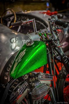 """dezsez: """"Yes please """" Green Motorcycle, Futuristic Motorcycle, Bobber Motorcycle, Motorcycle Leather, Custom Motorcycle Paint Jobs, Custom Paint Jobs, Custom Motorcycles, Custom Bikes, Bicycle Paint Job"""