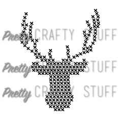Cut file Big Cross Stitch Deer Head SVG file by PrettyCraftyStuff