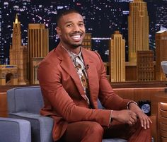 Michael B. Jordan Wears Vivienne Westwood Suit and Shirt on Jimmy Fallon Vivienne Westwood Suit, Michael Bakari Jordan, Just Beautiful Men, Bae, Man Crush Everyday, Handsome Black Men, Grown Man, Jimmy Fallon, Black Boys