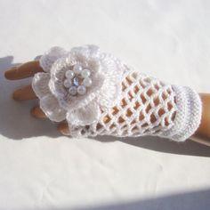 Bridal Gloves,  Hand Crochet  White Lace Gloves,  Mitten, Half Finger, Fall Fashion, Winter Accessories, Warm Soft Fingerless. $32.00, via Etsy.
