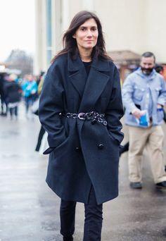 Dress up a basic oversized coat with a stylish waist belt