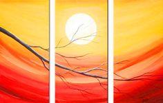 Resultado de imagen de cuadros de pintura oleo triptico Sunset Painting Easy, Night Sky Painting, Sunrise Painting, Lake Painting, Hand Painting Art, Simple Acrylic Paintings, Seascape Paintings, Tree Of Life Painting, Beautiful Landscape Paintings