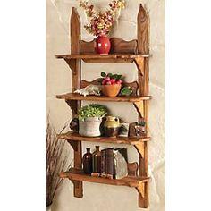 Vintage Style Wood Ski Shelf