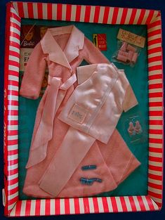 still packaged Barbie nightwear set from the 60\'s - complete with hair curlers and high heeled caribou slippers! (oh and a scale, and a booklet on \