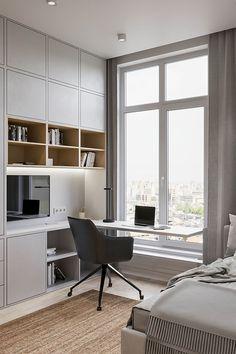 Small House Interior Design, Office Interior Design, Office Interiors, House Design, Modern Home Offices, Small Home Offices, Home Office Shelves, Rose Gold Room Decor, Arquitetura