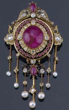 Ruby, Diamond and Pearl Pendant