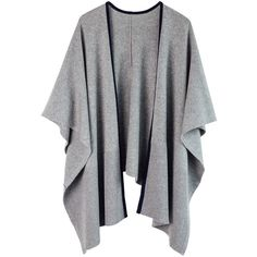 Ille De Coco - Luxe Poncho Grey Marl & Navy ($279) ❤ liked on Polyvore featuring outerwear, grey poncho and wool poncho