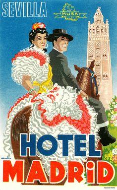 Hotel Madrid, Seville luggage label. #vintage #travel #Spain