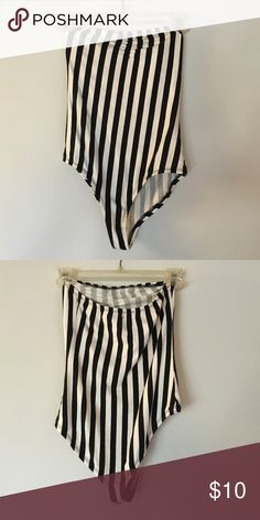 Strapless body suit Black/white strapless body suit. Worn a few times. Fun for Halloween Forever 21 Tops Camisoles