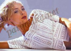 Short-sleeved white crochet cardigan - Renee - Lei Yu Xuan. All the charts at source
