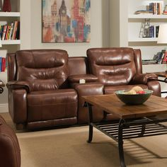 Crescent, Double Reclining Sofa with Console & Power Headrest, Dining Room Table Sets, Bedroom Furniture, Curio Cabinets and Solid Wood Furniture - NC Furniture Furniture Deals, Belfort Furniture, Furniture, Love Seat, Leather Reclining Loveseat, Southern Motion, Recliner, Cool Furniture, Leather Loveseat