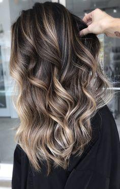 Brown Hair With Blonde Highlights, Brown Hair Balayage, Balayage Brunette, Hair Color Balayage, Brunette Hair, Hair Highlights, Ombre Hair, Balayage Hairstyle, Bayalage