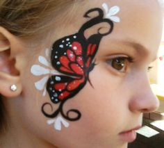 Butterfly facepainting- modify this for girls with bangs