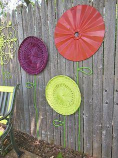 Recycled Garden Flower Wall Art Staplin the Cord