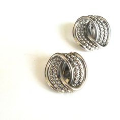 Bergere earrings clip on VINTAGE silvertone beaded infinity by RememberThis3 on Etsy