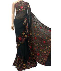Black Kashmiri Needle Work Georgette Saree