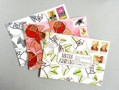 Art Deco Envelope Art Tutorial | The Postman's Knock | Oh Em Gee! Tutorial how-to and template download. Plus I think I'll search for pretty but simple backgrounds and start there!