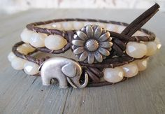 Elephant leather bracelet - Winter White - ivory cream neutral stacking bracelet lucky good luck charm CHOOSE ELEPHANT or DAISY button