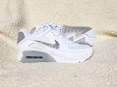 Crystal Nike Air Max 90 Ultra Essential White Shoes by SparkleNvie