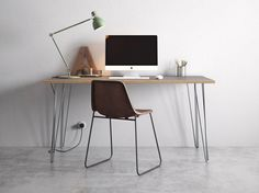 Hairpin Desk and Dining Table - Grey Formica Birch Plywood & Our Best Selling Pins - All Sizes