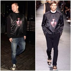 Professor Green wears Givenchy Madonna print sweatshirt at Mondrian Hotel London launch party 9th October 2014