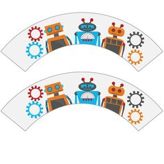 Robot Party DIY Cupcake Wrappers and Toppers by cranberrydesign
