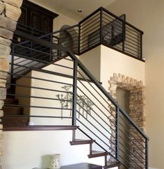 exterior metal stair railing metal handrails for stairs horizontal rod iron stair railing metal handrails for outdoor stairs outdoor iron stair railing kit Black Stair Railing, Black Stairs, Stair Railing Design, Metal Stairs, Modern Stairs, Stair Case Railing Ideas, Rod Iron Railing, Wrought Iron Stair Railing, Stair Handrail