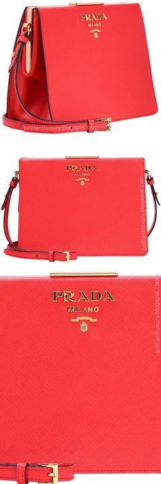 a805e38e38159d Brilliant Luxury ♢ Prada Saffiano Leather Shoulder Bag #red Prada Bag, Prada  Clutch,