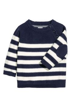 Knit sweater in soft cotton fabric. Buttons at top, raglan sleeves with elbow patches, and ribbing at neckline, cuffs, and hem. Little Boy Outfits, Toddler Outfits, Kids Outfits, Unisex Baby Clothes, Baby Kids Clothes, Raglan Pullover, Knitting Patterns Boys, Baby Boy Dress, H&m Kids