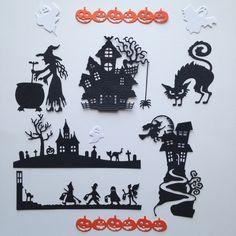lot découpes halloween maison chat citrouille sorcière chapeau scrapbooking embellissement album scrap die cut déco : Embellissements par lafscrap