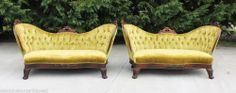 Pair~ Beautiful Early Victorian Rosewood Serpentine Back Fireside Settees c1860 #Victorian