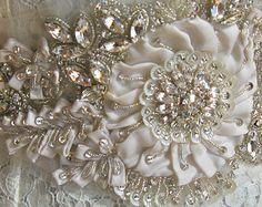 Crystal Bridal Sash, Ivory Bridal Sash, Swarovski Crystal, Rhinestone Sash, Floral Bridal Sash, Statement Belt-EVE-CUSTOM ORDER